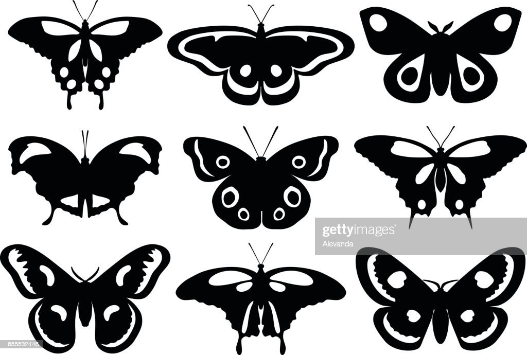 Set of silhouettes butterflies isolated on white background. Vector illustration.