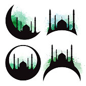 Set of silhouettes of a mosque with green watercolor splashes. Eid al Adha.