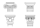 Set of silhouettes of capitals