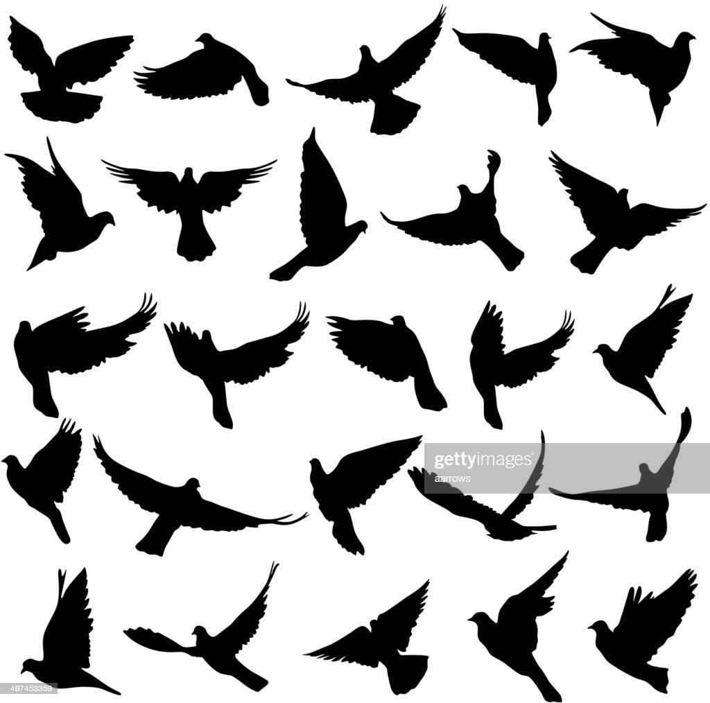 Set of silhouettes of doves.