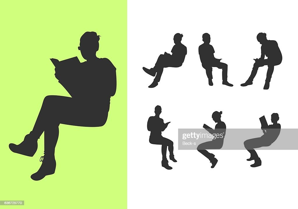 Set of silhouettes reading a book