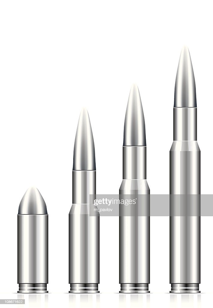 A set of silver bullets on a white background