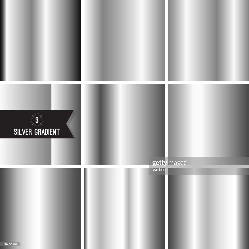 Set of silver foil texture