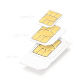 Set of SIM cards of different types. Vector illustration
