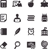 Set of simple black and white education icons