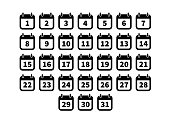 Set of simple black calendar icons isolated on white