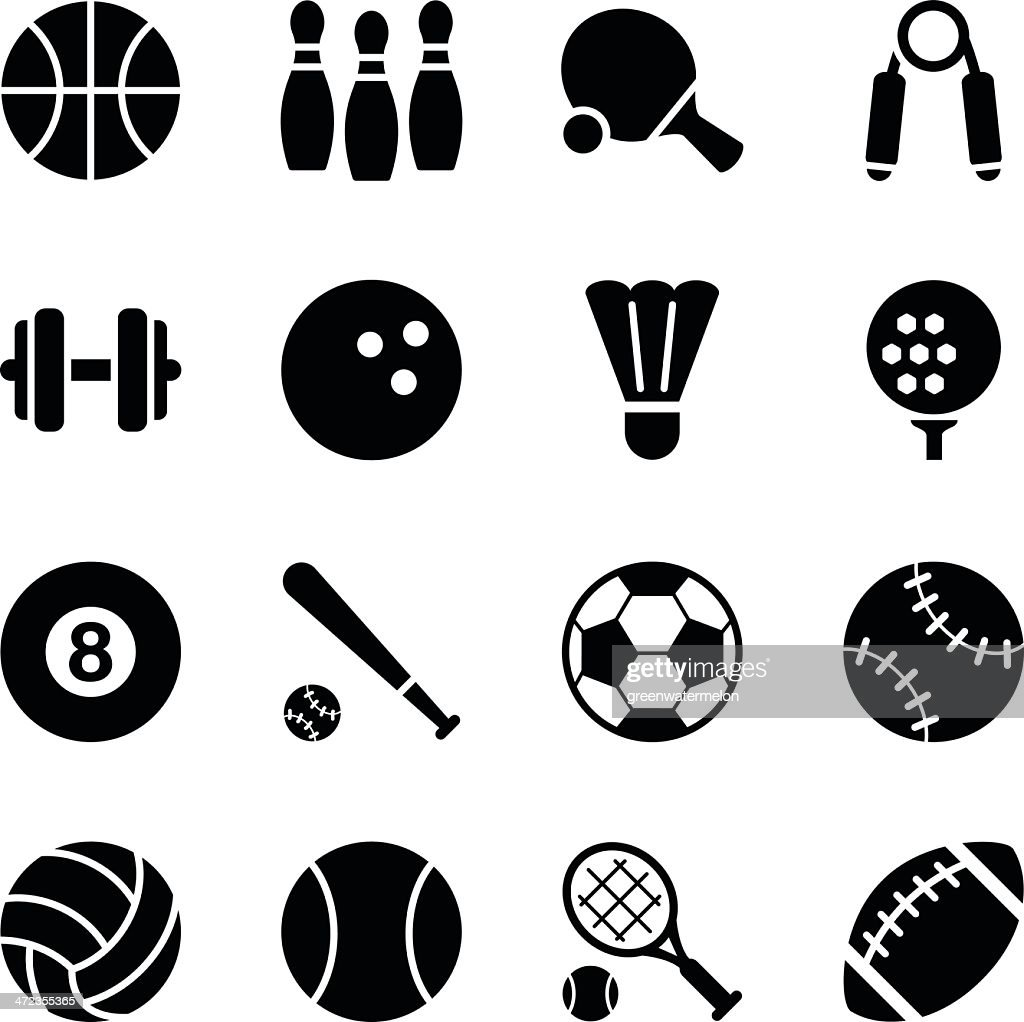 Set of simple black sports icons