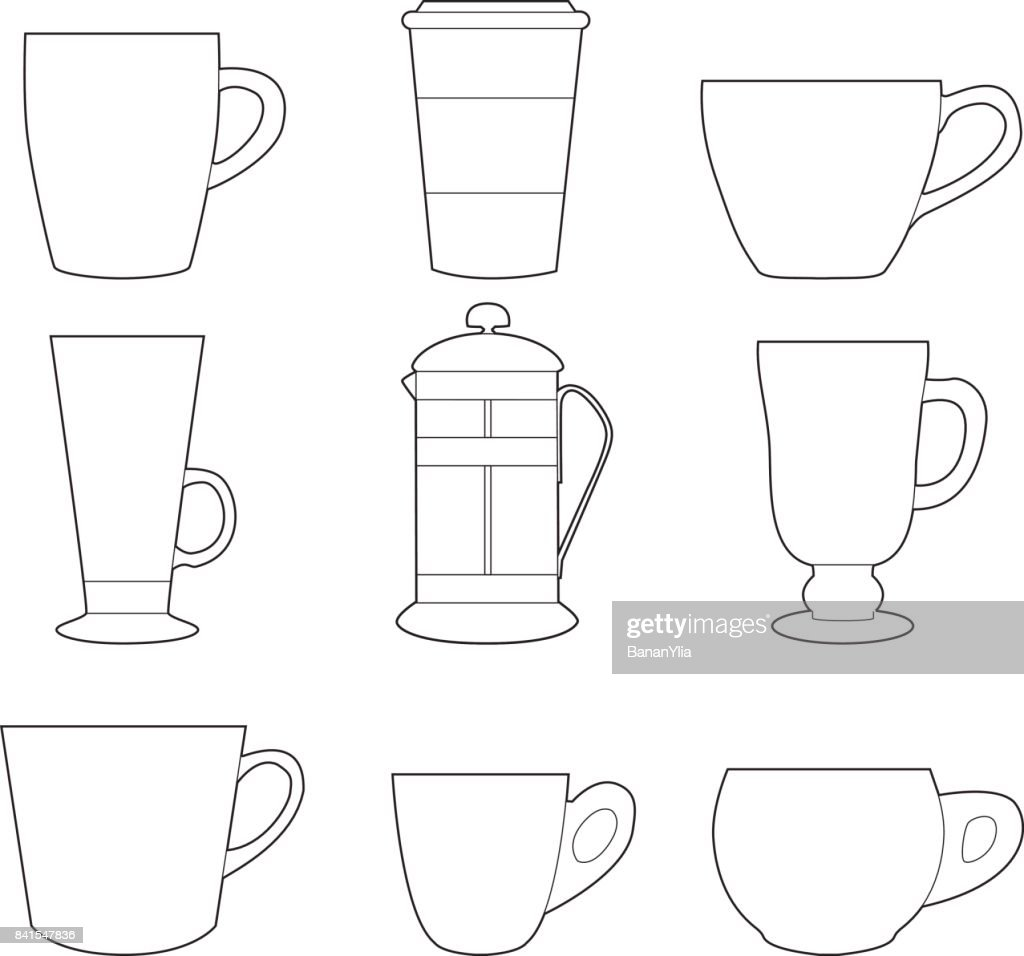 Set of simple colorful coffee cups and french press line art  icons on white backgroun