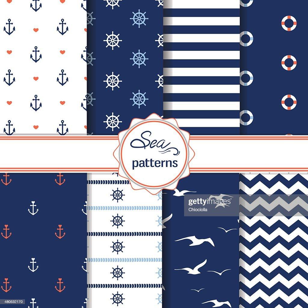 Set of simple cute nautical seamless patterns : Vector Art