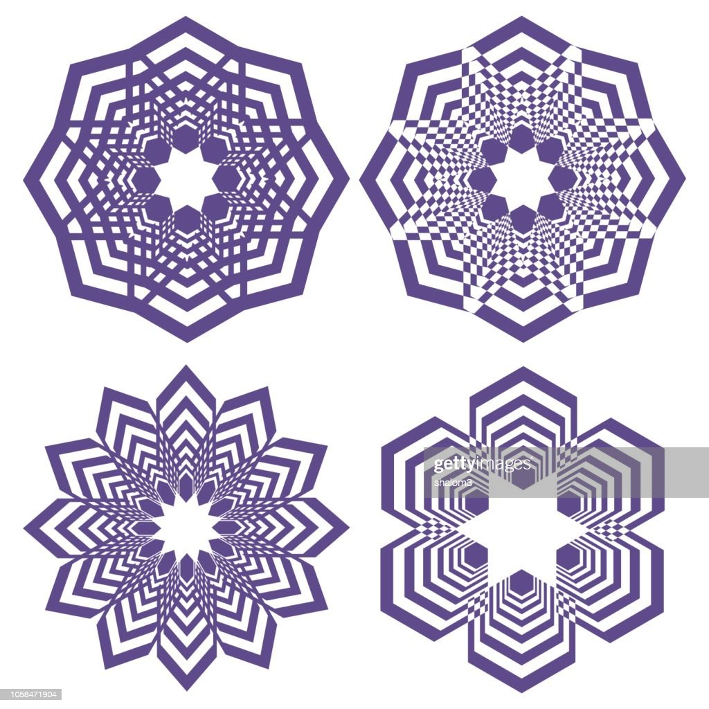 Set of simple geometric design elements, purple shapes on white background, collection of beautiful decorative patterns