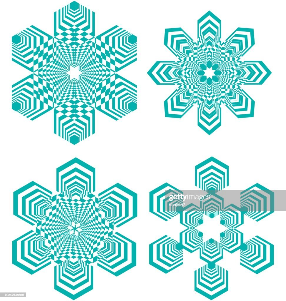 Set of simple geometric design elements, turquoise shapes on white background, collection of beautiful decorative patterns