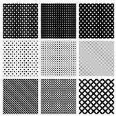 Set of simple geometric seamless patterns.  Vector illustration. Background.