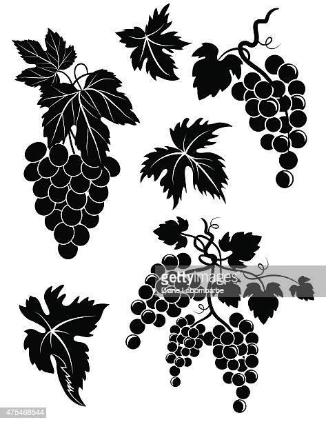 丸めのシンプルなブドウと葉