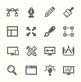 Set of simple gray design-related icons