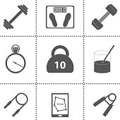 Set of simple gym icons