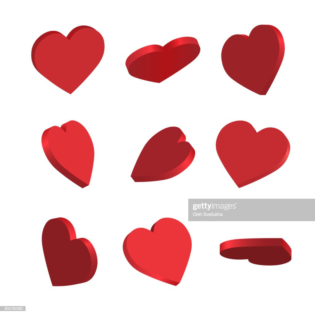 Set of simple icons of red hearts
