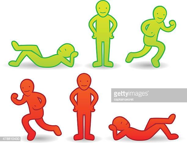 セットのシンプルな漫画の人々のアイコン - 腰に手を当てる点のイラスト素材/クリップアート素材/マンガ素材/アイコン素材