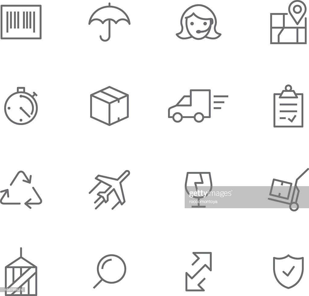 Set of simple logistics icons on white background
