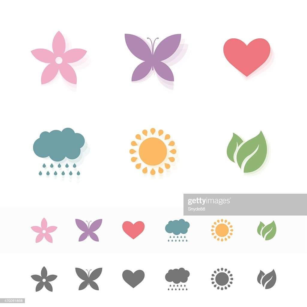 Set of simple romantic Flat Icons.