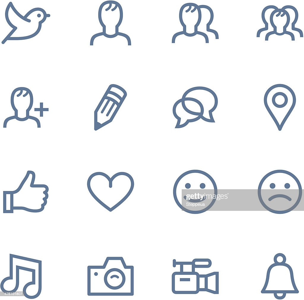 Set of simple social media icons