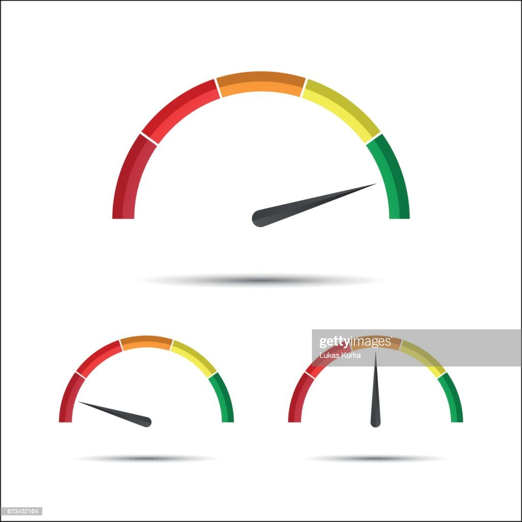 Set of simple vector tachometers with indicator in green, yellow and red part, speedometer icon, performance measurement symbol isolated on a white background