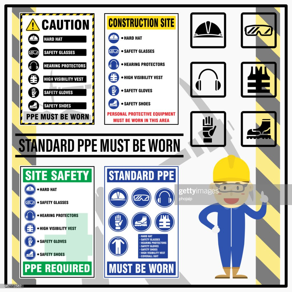 Set of site safety mandatory standard personal protective equipment (PPE) requirement signs. Safety caution signs - personal protective equipment must be worn in this area.