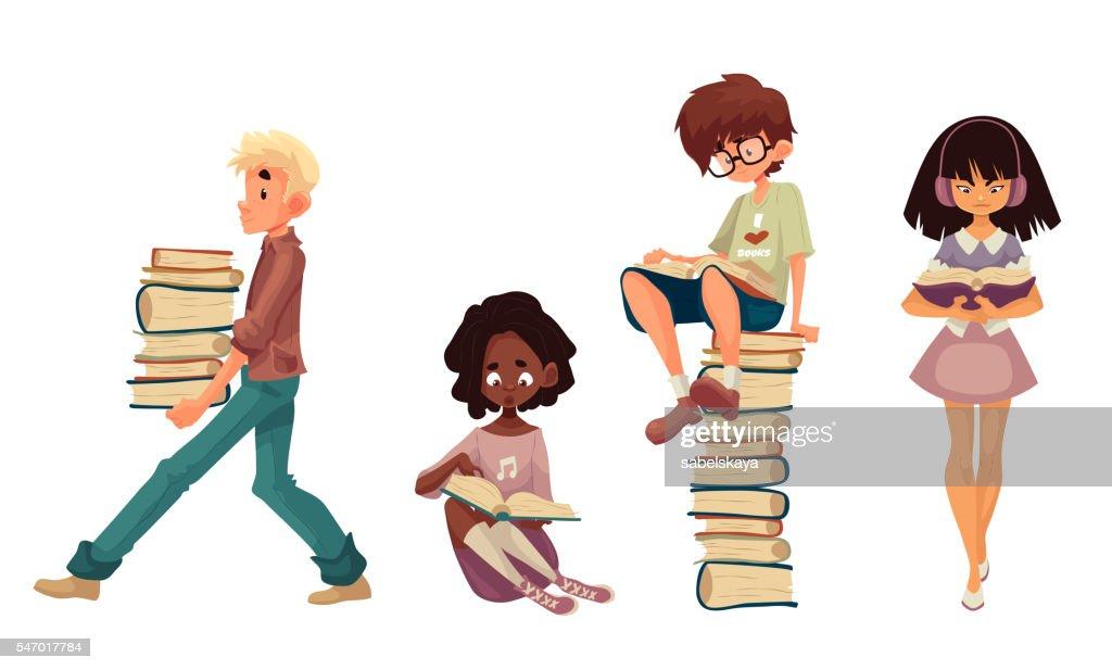 Set of sitting and walking children reading books