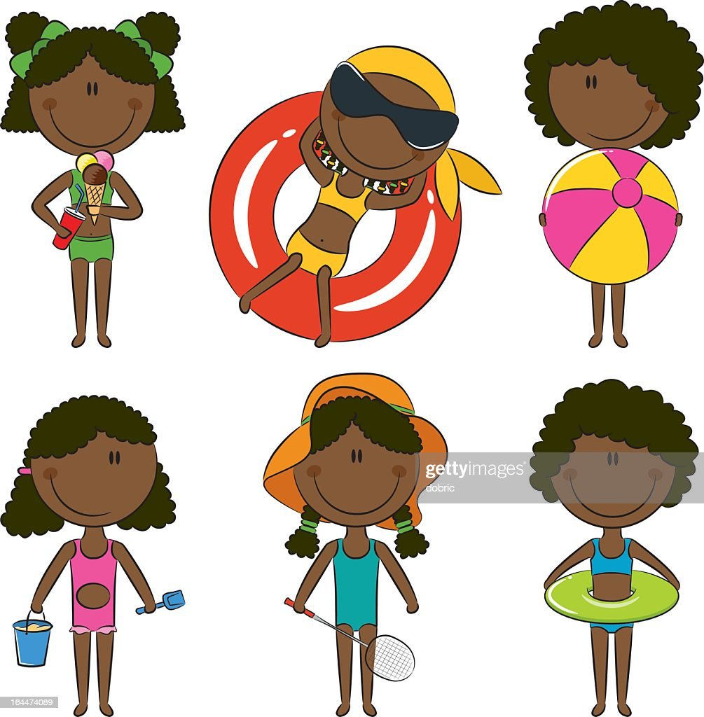 A set of six African American children with beach items