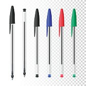 Set of six ballpoint pens on blank background