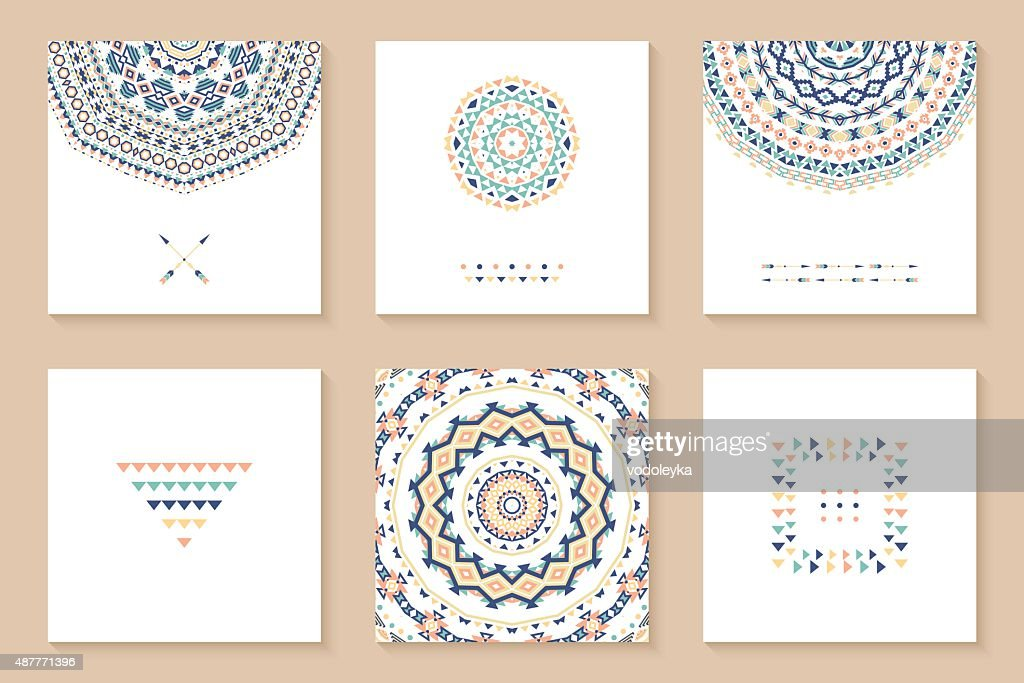 Set of six cards with ethnic design.