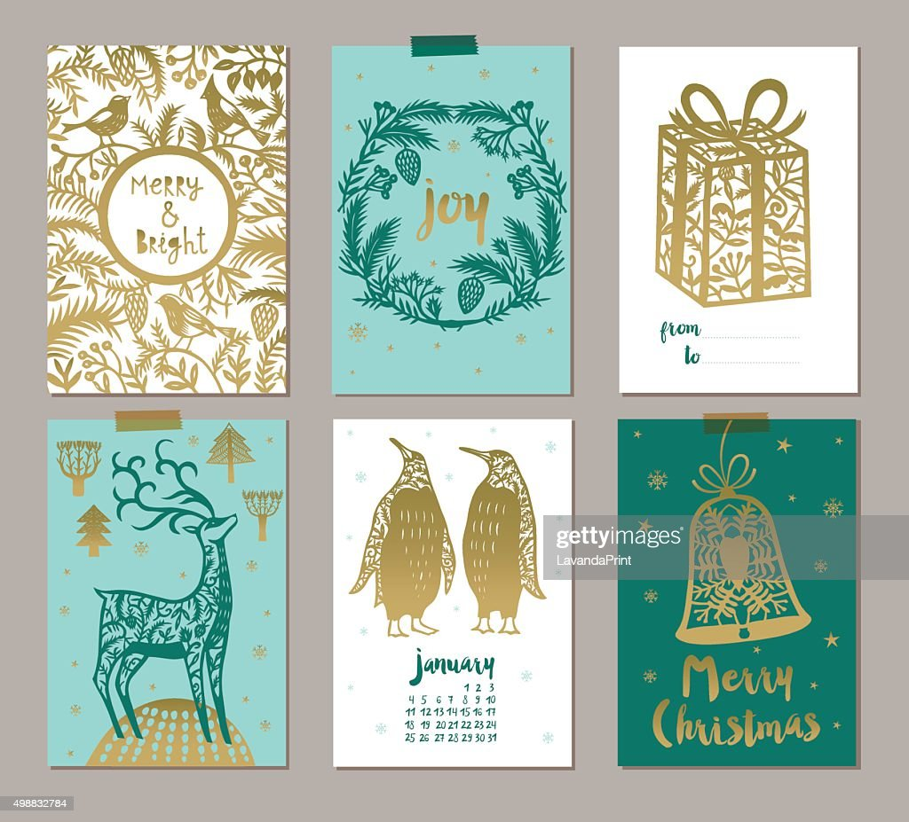 Set of six Christmas labels or tags