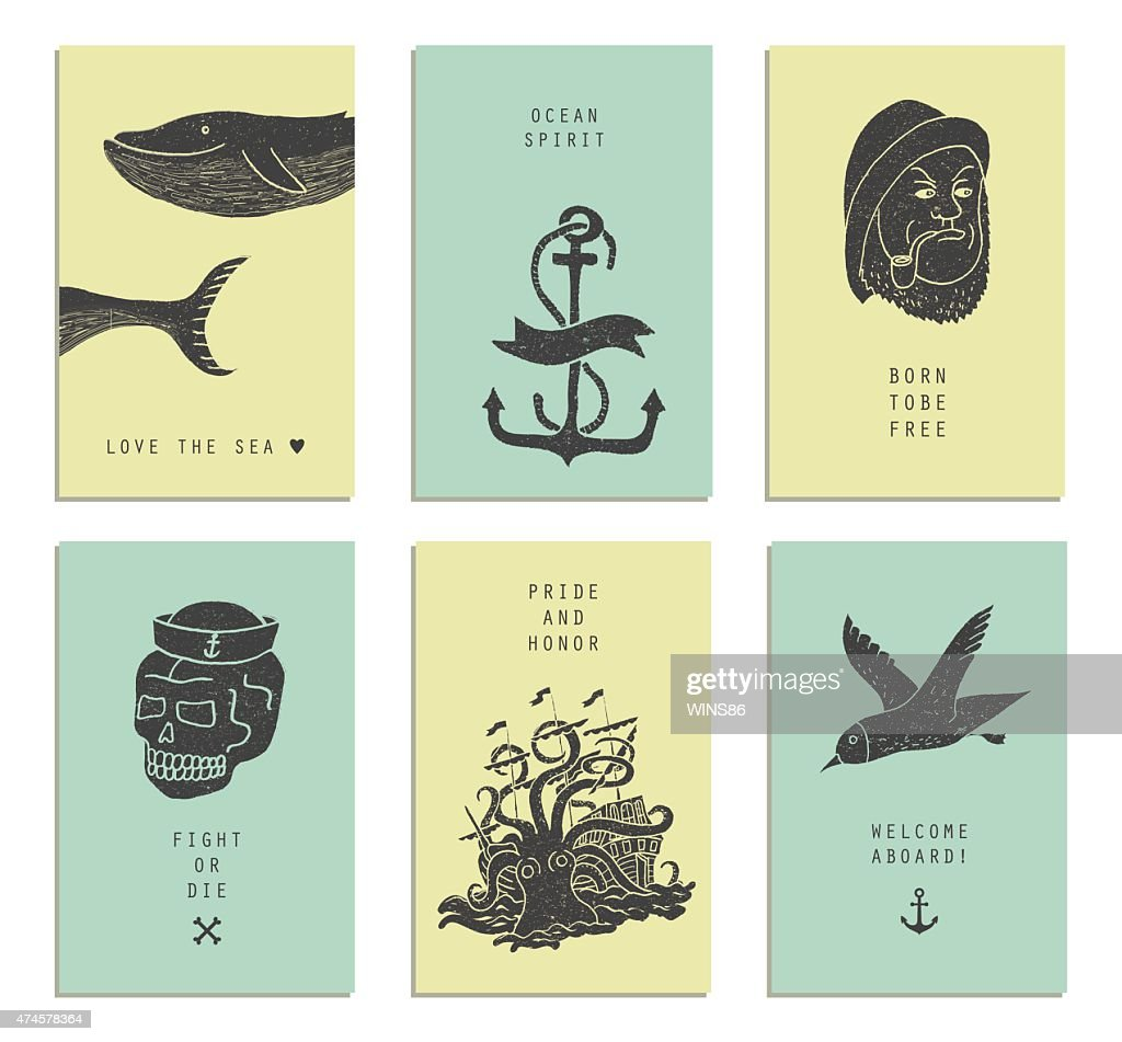 Set of six creative cards. Marine themes & tattoo.
