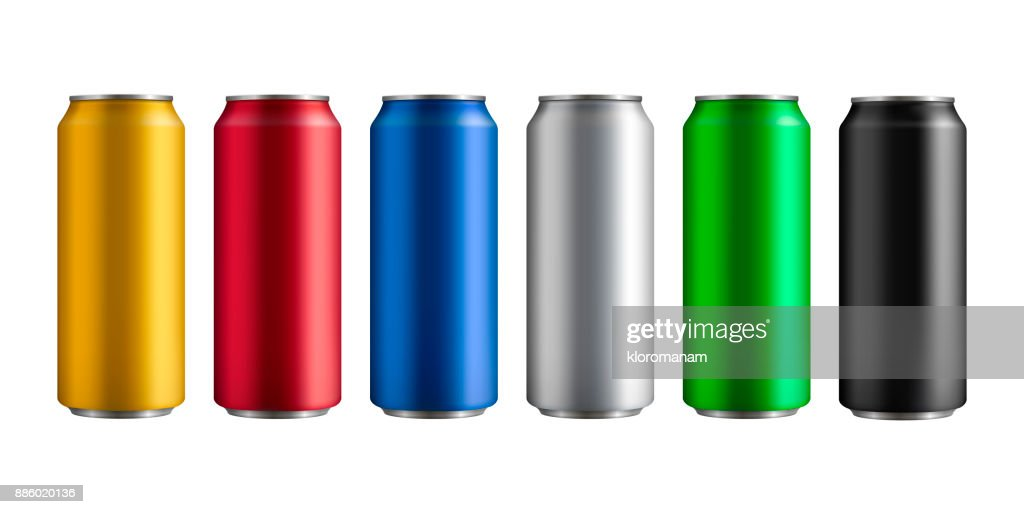 set of six different colored insulated aluminum cans with a drink