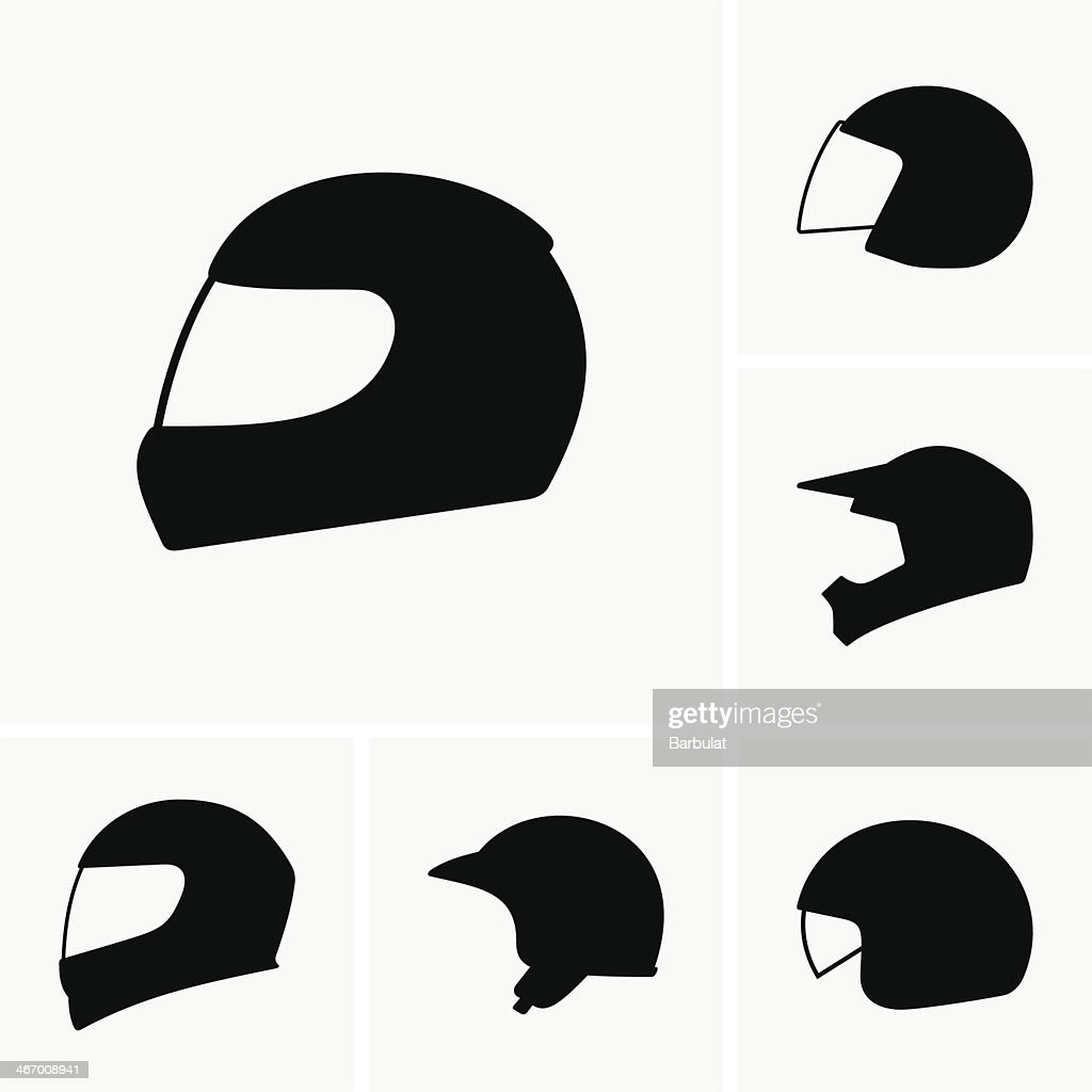 A set of six different motorcycle helmets