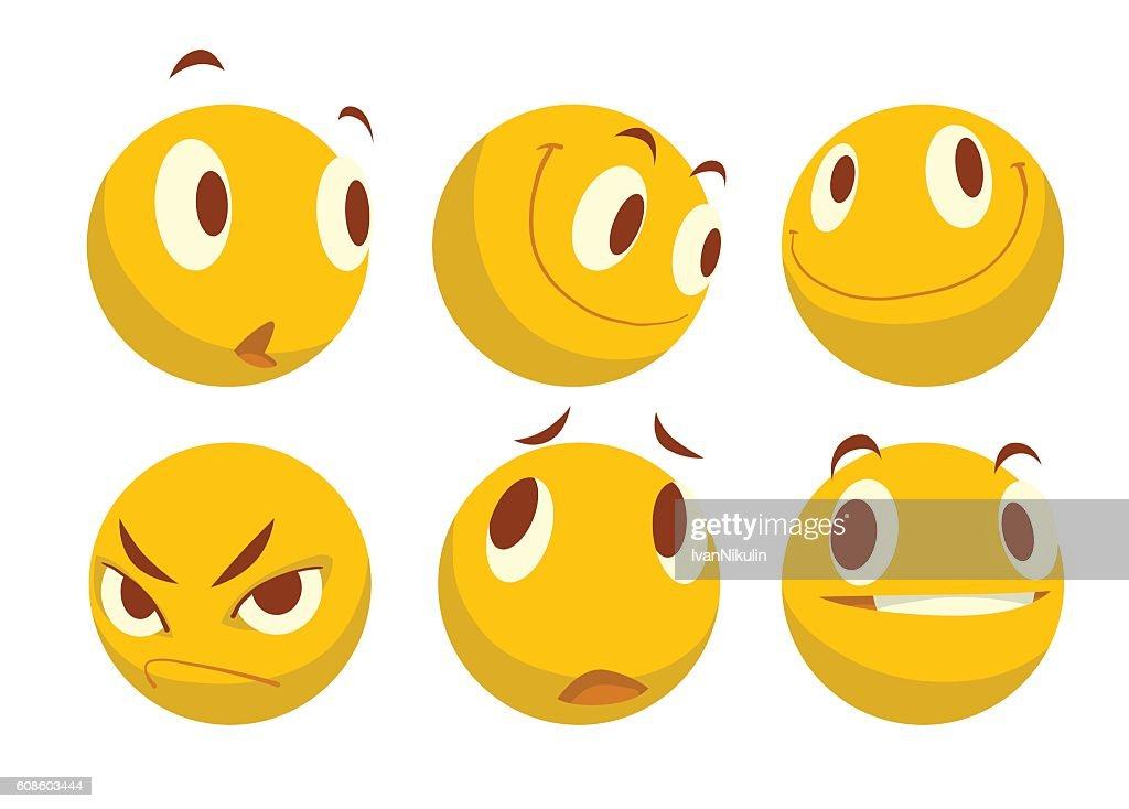 Set of six different yellow emoticons
