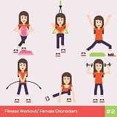 Set of six fitness female characters 1