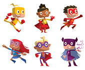 Set of six funny children in superhero costumes