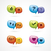 Set of six multicolored discussion icons