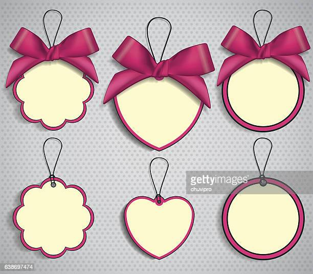 set of six price tags with pink satin bows - labeling stock illustrations, clip art, cartoons, & icons