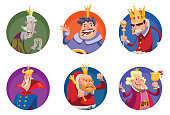 Set of six round frames with funny kings