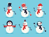 Set of Six Snowmen