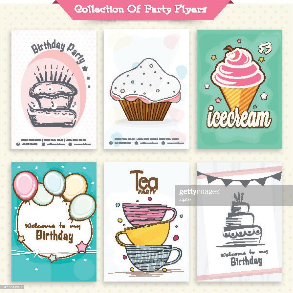Set of six stylish party flyers.