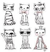 Set of six trendy cats