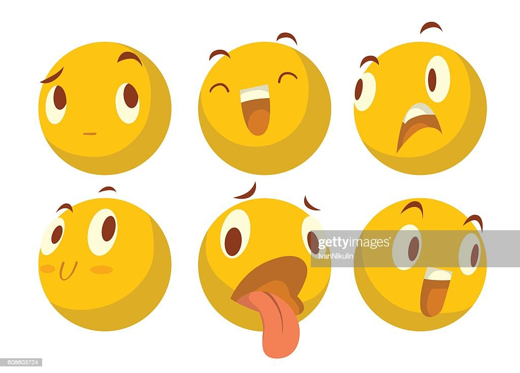 Set of six various yellow emoticons