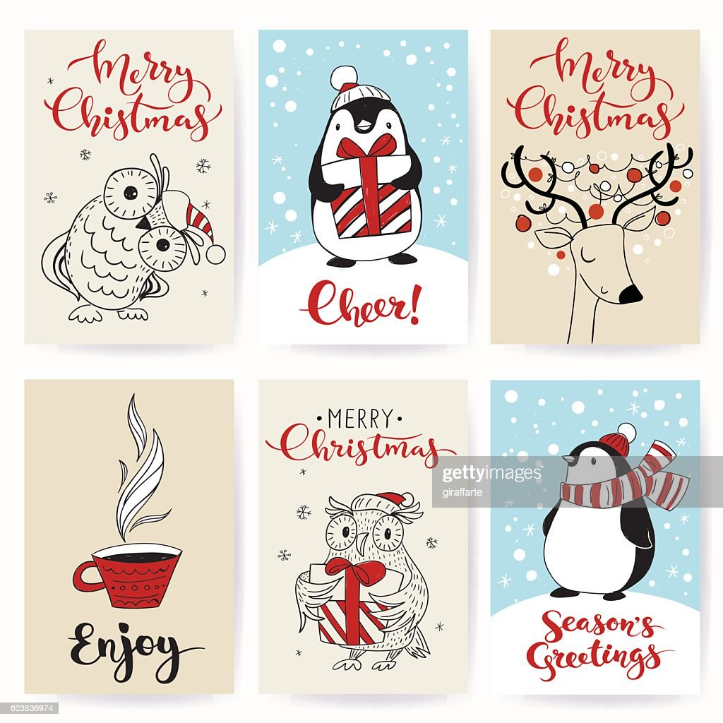 Set of six vector holiday Christmas tags with cartoon characters