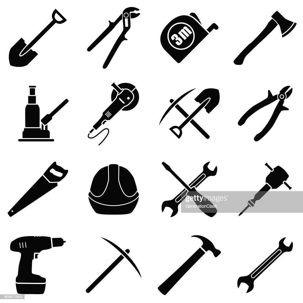 Set of sixteen black and white hand tools