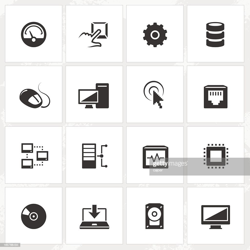Set of sixteen black computer icons in white squares