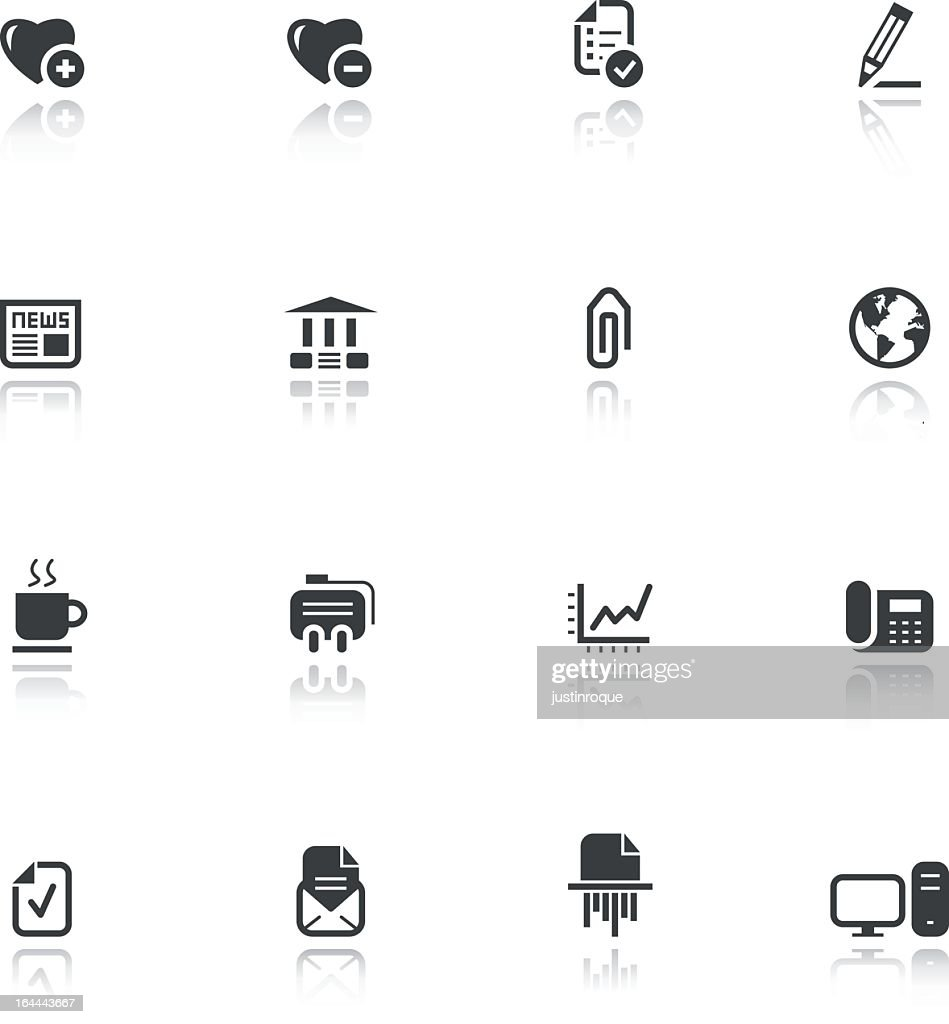 Set of sixteen business-themed flat black icons