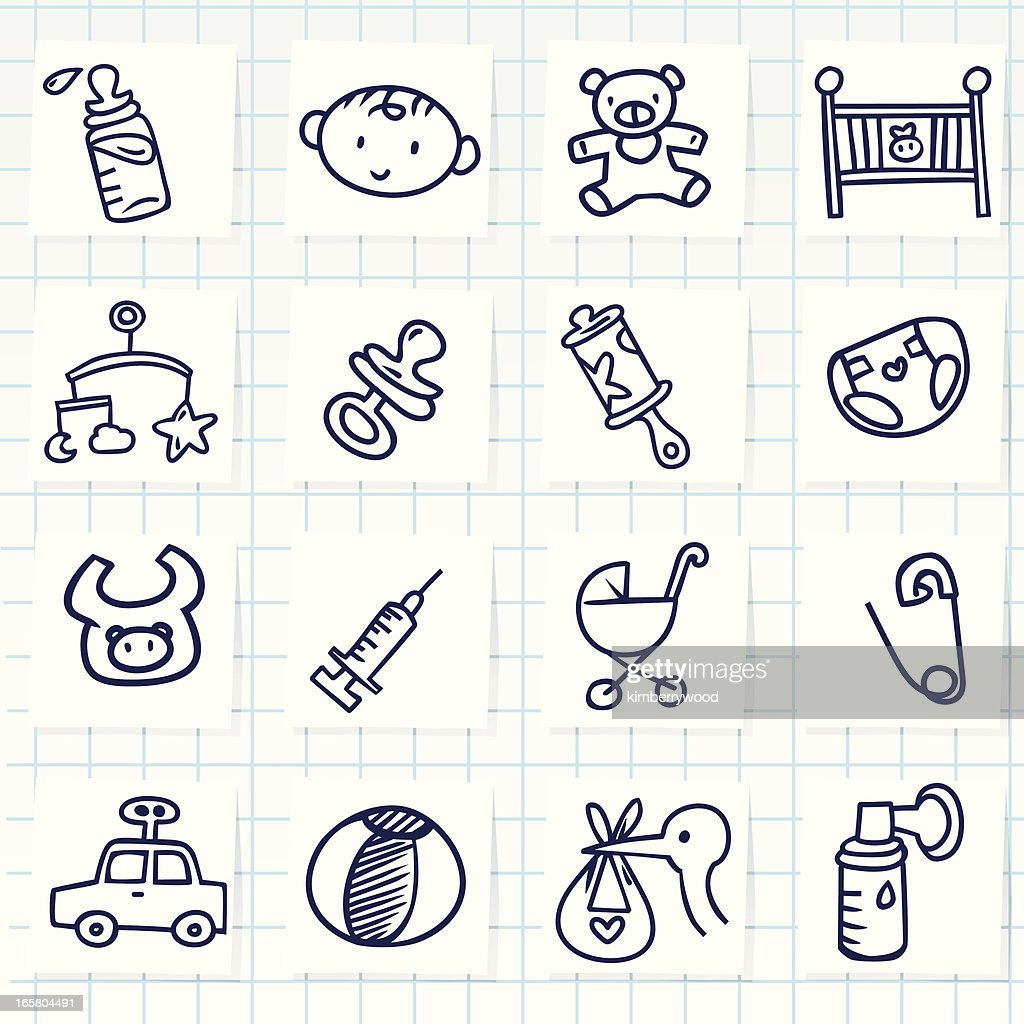 Set of sixteen cartoon baby icons