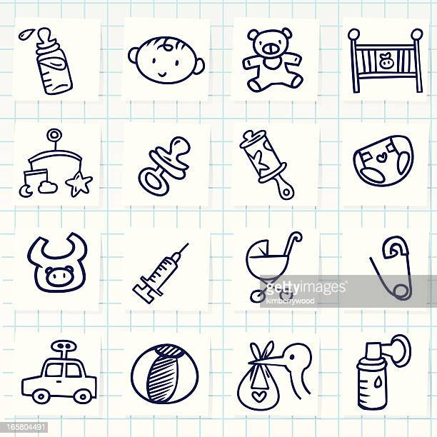 set of sixteen cartoon baby icons - enclosure stock illustrations